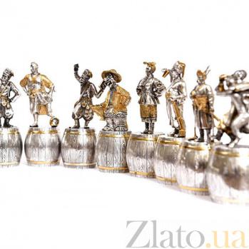 Набор серебряных штрафных рюмок Казаки 0010