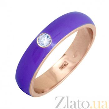 Золотое кольцо Пастель с фианитом и эмалью цвета лаванды К220кр/лав
