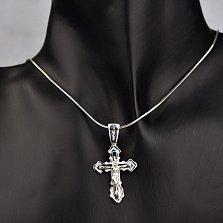 Серебряный крестик Верую с черной эмалью