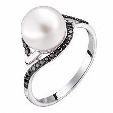 Кольцо в белом золоте Вилена с жемчугом и фианитами