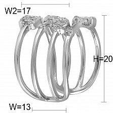 Фаланговое кольцо Любовь из белого золота с бриллиантами