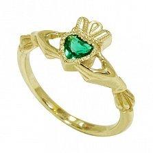 Кладдахское кольцо из желтого золота Царство любви с синтезированным изумрудом