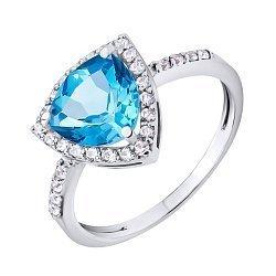 Золотое кольцо Надин в белом цвете с синтезированным голубым топазом и фианитами