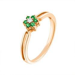 Золотое кольцо Маргаритка в красном цвете с зелёными топазами и бриллиантом