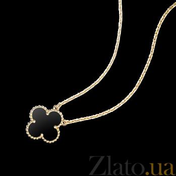 Колье из желтого золота с черным ониксом Alhambra N-VCA-Algamra-E-onyx