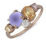 Золотое кольцо Брайди с аметистом, цитрином и цирконием
