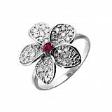 Серебряное кольцо с цирконием и рубином Plumeria