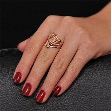 Золотое кольцо Триолетте с фианитом цвета шампань
