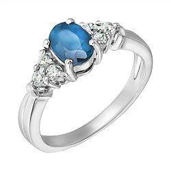 Серебряное кольцо с лондон топазом и фианитами 000131720