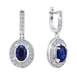 Серебряные серьги-подвески Маргарет с синими и белыми фианитами