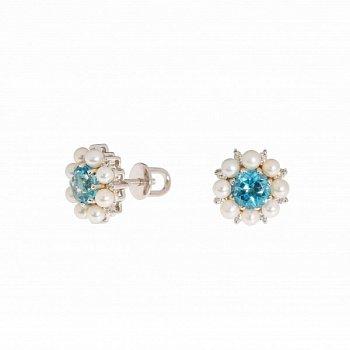 Серебряные серьги-пуссеты с голубыми топазами, белыми жемчугом и фианитами 000067537