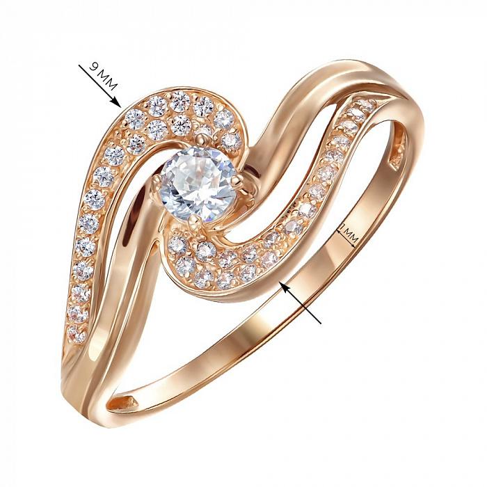 Кольцо из красного золота с фианитами 000150330 000150330