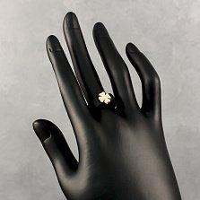 Кольцо из каучука и серебра Клевер с золотой накладкой