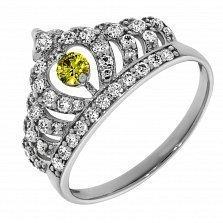 Кольцо из белого золота Царица с цитрином и бриллиантами