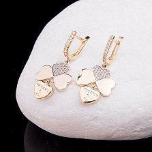 Золотые сережки Символ любви и удачи с фианитами в стиле Тиффани