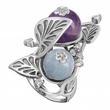 Серебряное кольцо Цветущий сад с шариками аметиста, аквамарина и фианитами