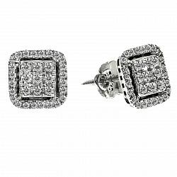 Серьги-пуссеты в белом золоте Николетта с бриллиантами