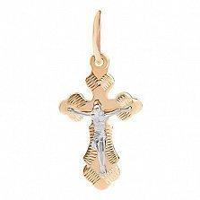 Крестик из комбинированного золота Ангел Хранитель