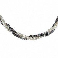 Ожерелье Эклекта из 3 нитей белого и черного жемчуга с серебряной застежкой