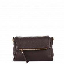 Кожаный клатч Genuine Leather 8874 цвета горький шоколад с карманом на тыльной стороне