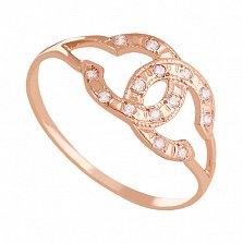 Золотое кольцо с цирконием Стиль Шанель