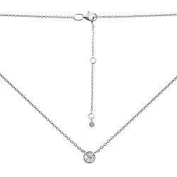 Серебряное колье с бриллиантом в якорном плетении с родированием 000134801