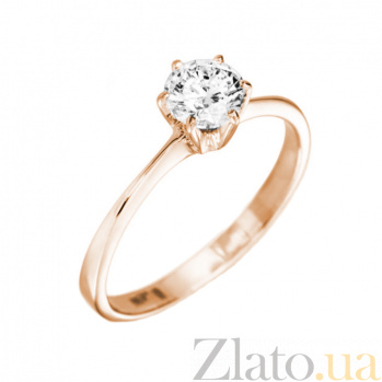 Кольцо в красном золоте Валери с бриллиантом 000079301