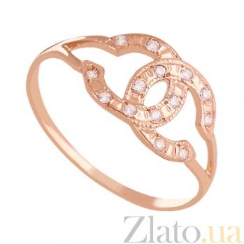 Золотое кольцо с цирконием Стиль Шанель 000029233