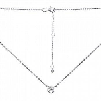 Срібне кольє з діамантом у якірному плетінні з родіюванням 000134801