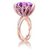 Кольцо из розового золота Эдем: Чаша Изобилия с аметистами и бриллиантами