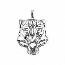 Серебряная подвеска Скалящийся тигр