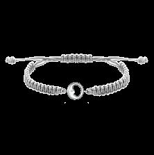 Детский плетеный браслет Спящий месяц с серебряной вставкой и фианитом 11-11см