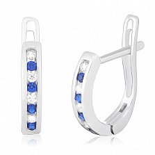 Серебряные серьги с синими фианитами Ревекка