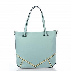 Кожаная деловая сумка Genuine Leather 8660 голубого цвета с желтыми геометрическими вставками