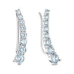 Серебряные серьги-каффы с фианитами 000146355