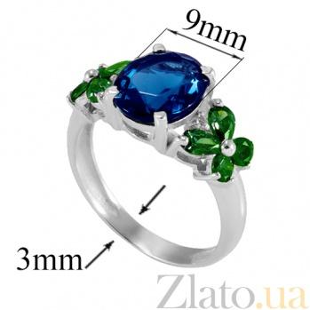 Серебряное кольцо Анжелика с синим и зелёным цирконием Анжелика к/син-зел