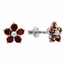 Серебряные серьги с цирконием коньячного цвета Нарцис