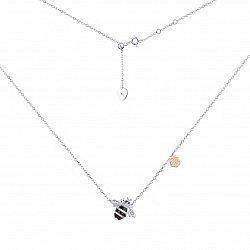 Серебряное колье Пчела с эмалью, позолотой и фианитами 000113657