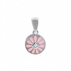Серебряный кулон Василек с розовой эмалью и цирконием