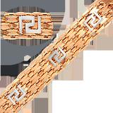 Золотой браслет дабл фор Бисмарк 11мм