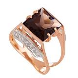 Золотое кольцо с раухтопазом и фианитами Латгардис
