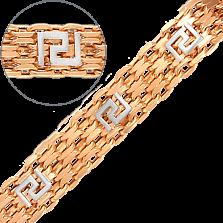 Золотой браслет дабл фор Бисмарк с накладками в видео геометрического узора, 11мм