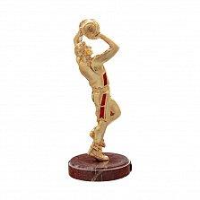 Бронзовая скульптура Баскетболист в позолоте с холодной эмалью на мраморной подставке