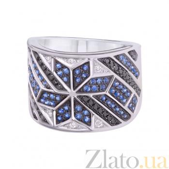Золотое кольцо с сапфирами и бриллиантами Рианна 1К759-0234