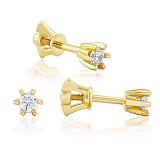 Золотые серьги-пуссеты с кристаллами Swarovski Санни