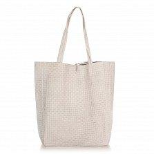 Кожаная сумка на каждый день Genuine Leather 8040 серого цвета на завязках