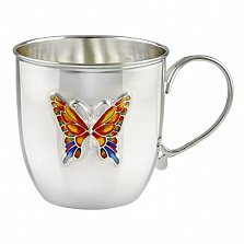 Детская серебряная кружка Бабочка с цветной эмалью, 125мл