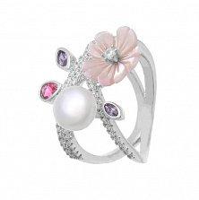 Серебряное кольцо Морской цветок с белым жемчугом, перламутром и разноцветным цирконием