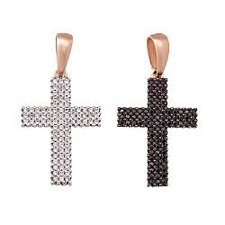 Золотой двухсторонний крестик Вивея в комбинированном цвете с черными и белыми фианитами