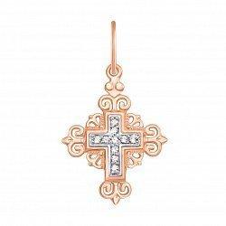 Золотой крестик Светлый день в комбинированном цвете с фианитами